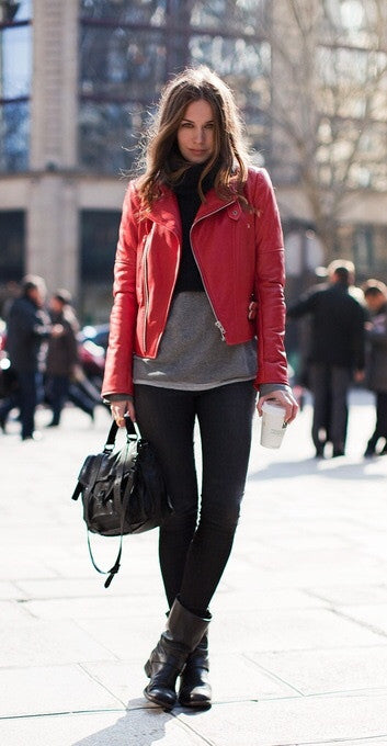 Something different red leather jacket