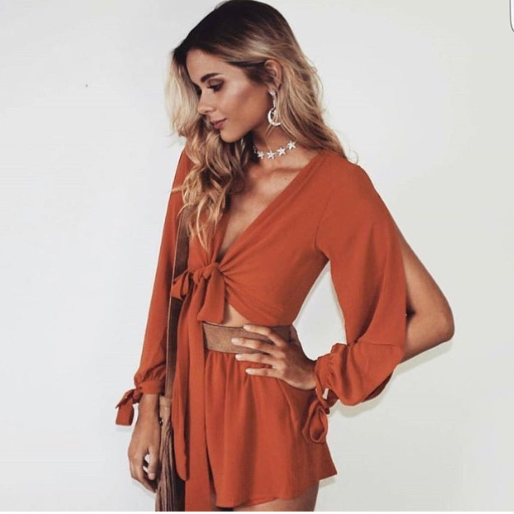 Safia rust playsuit
