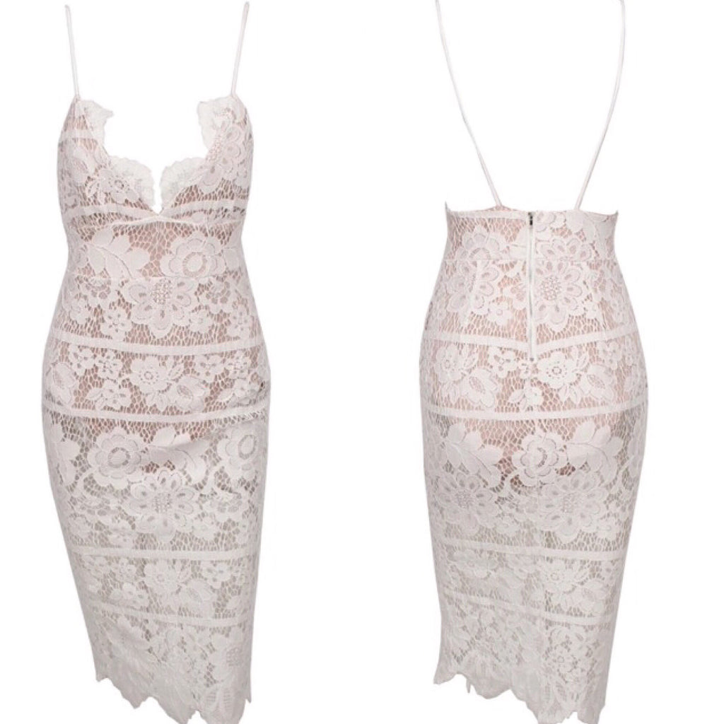 Amy white lace dress