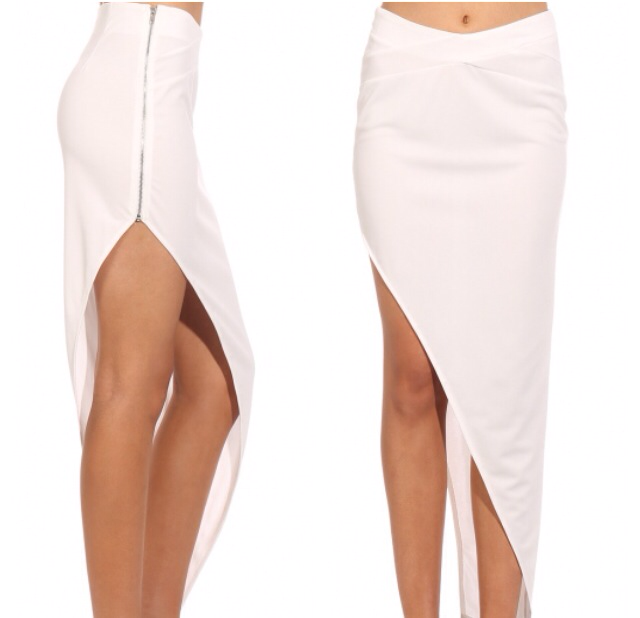 Pure Shores White Asymmetric Maxi Skirt