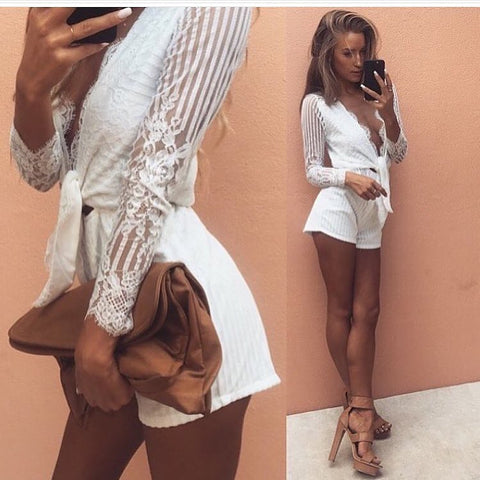 Sky white playsuit