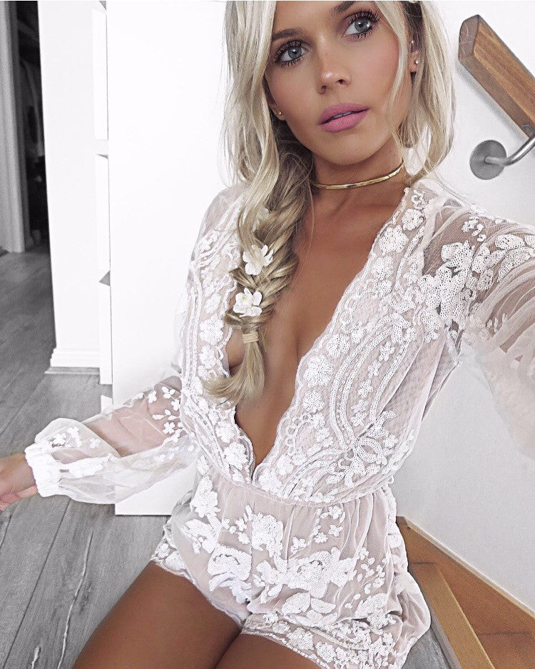 Myself white sequin playsuit