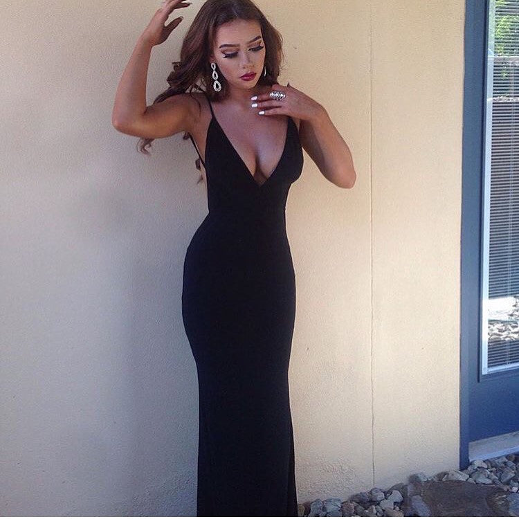 Rhianna black maxi dress
