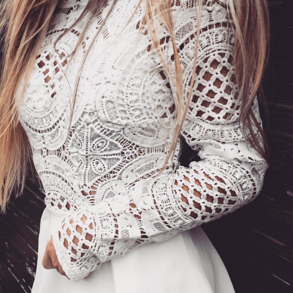 Bree Crochet Long Sleeve White Top Love Storey Boutique