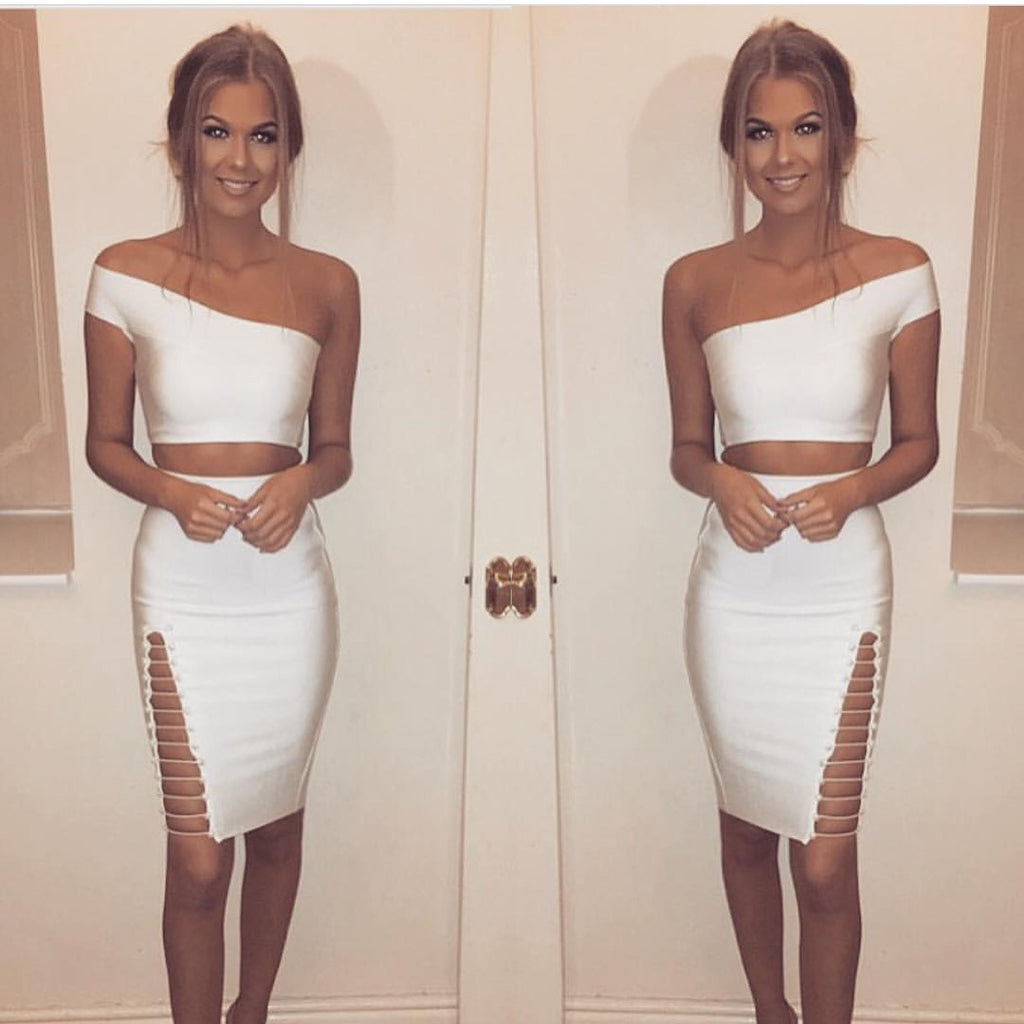 Hide away white top and skirt set
