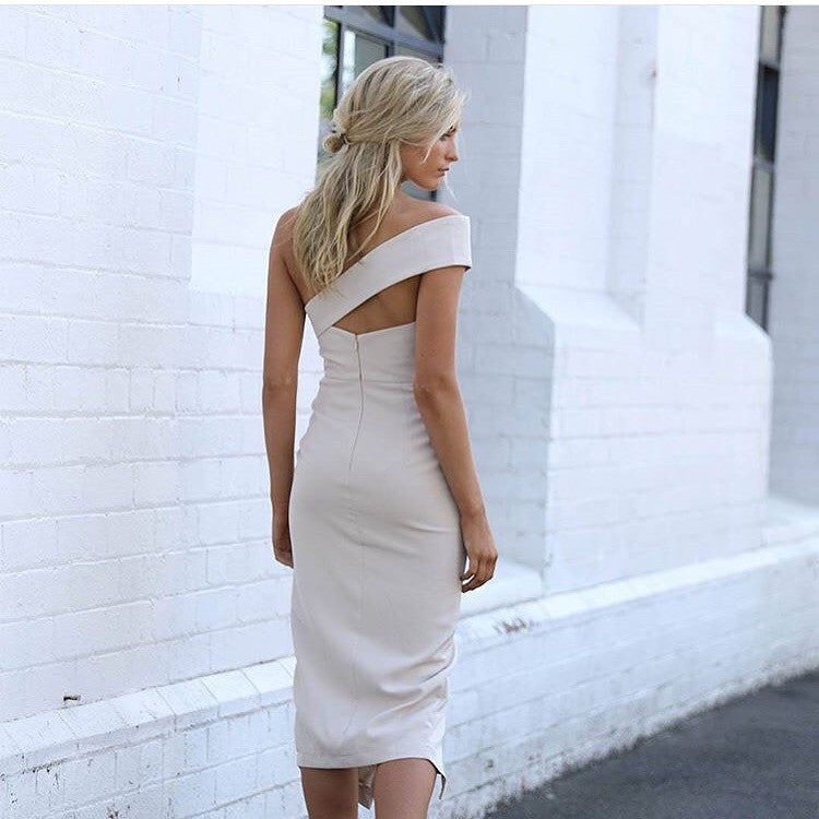 Midnight hour beige midi dress