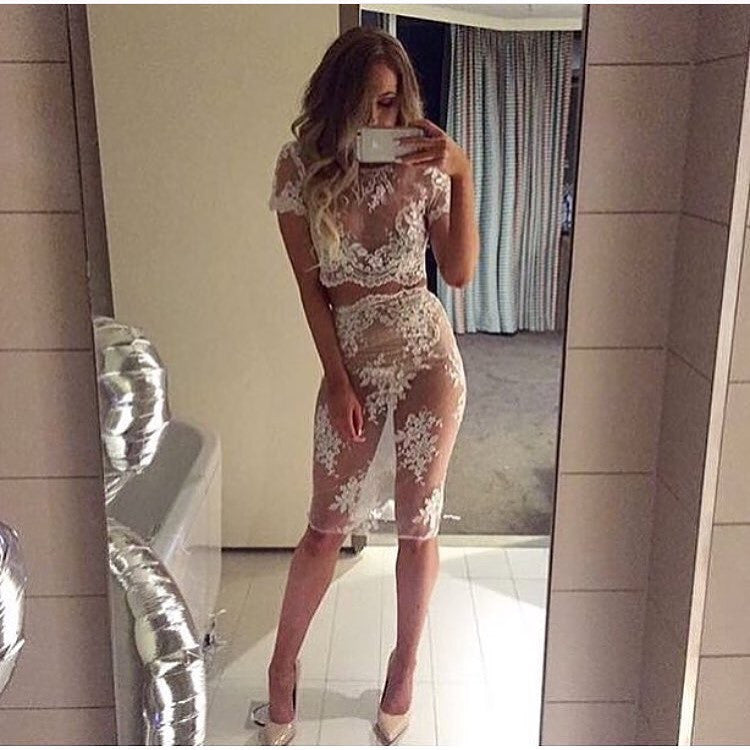 Jesinta White Lace Top and Skirt Set