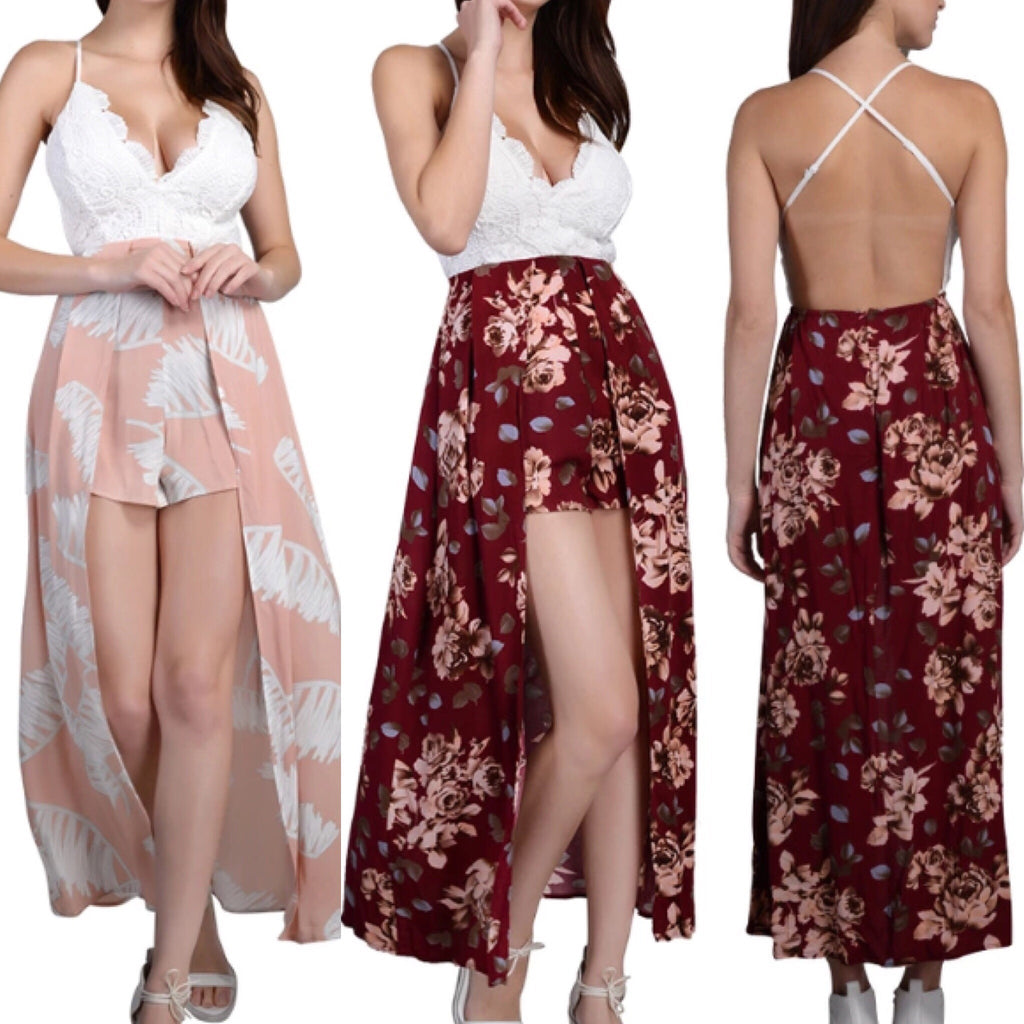 The girl is mine maxi playsuit available in Floral wine and peach
