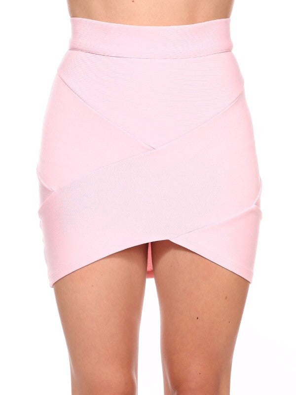 Believe me pink mini bandage skirt
