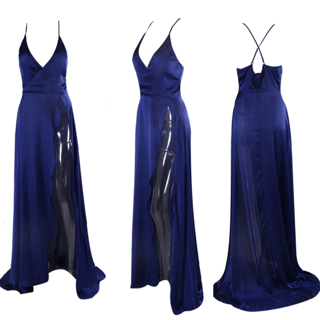 Fantasy navy split maxi dress