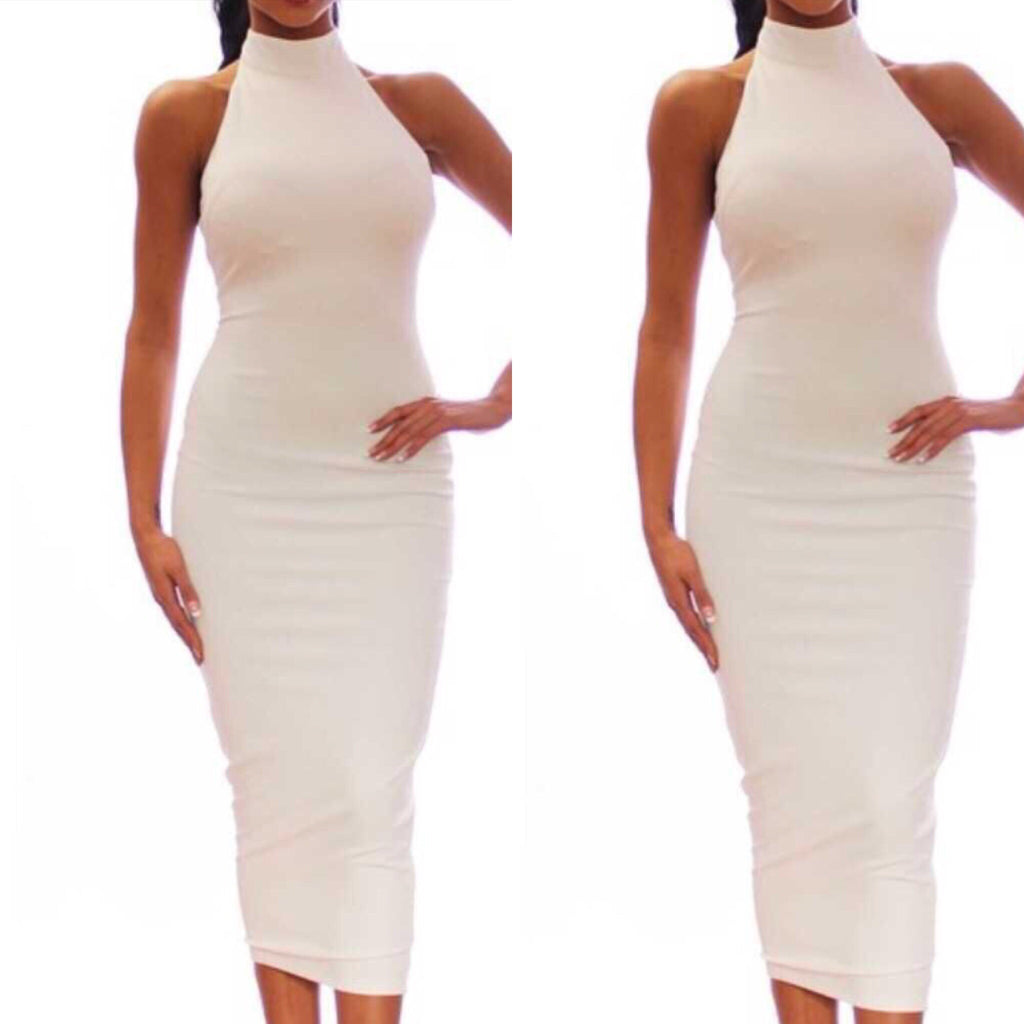 Want me high neck white dress