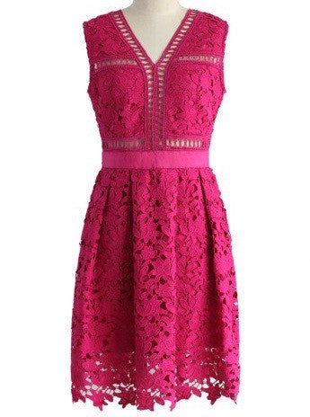 Tiffany Hot Pink Crochet Dress