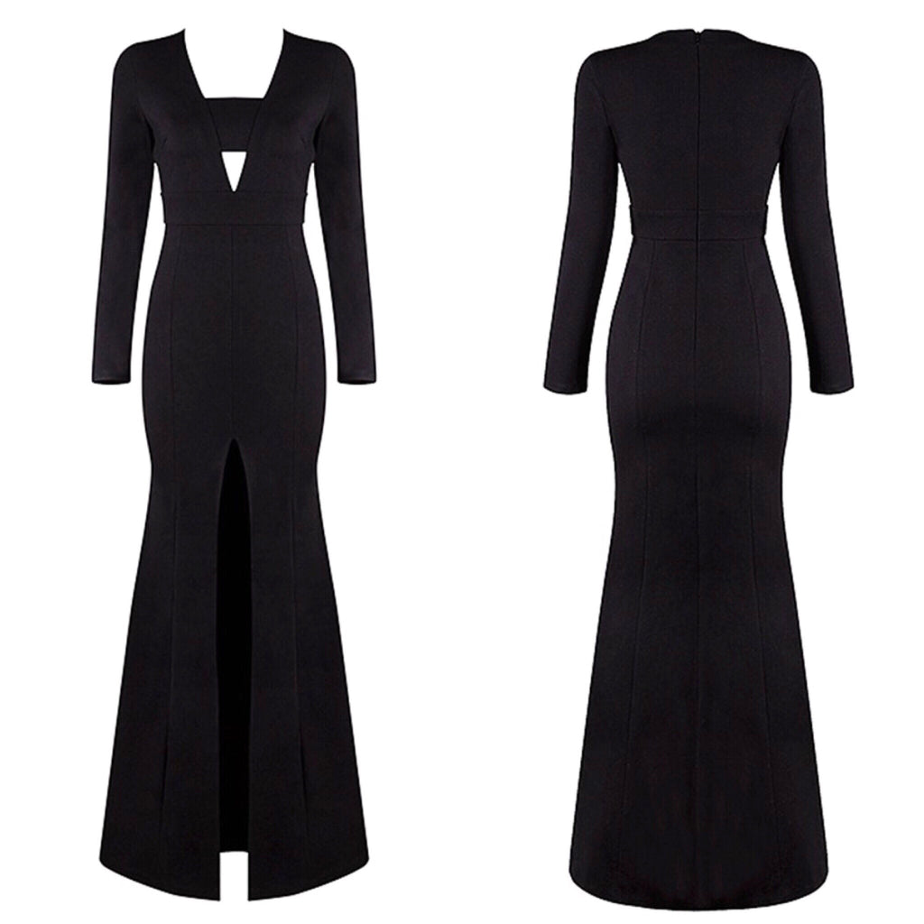 Amati black front split maxi dress