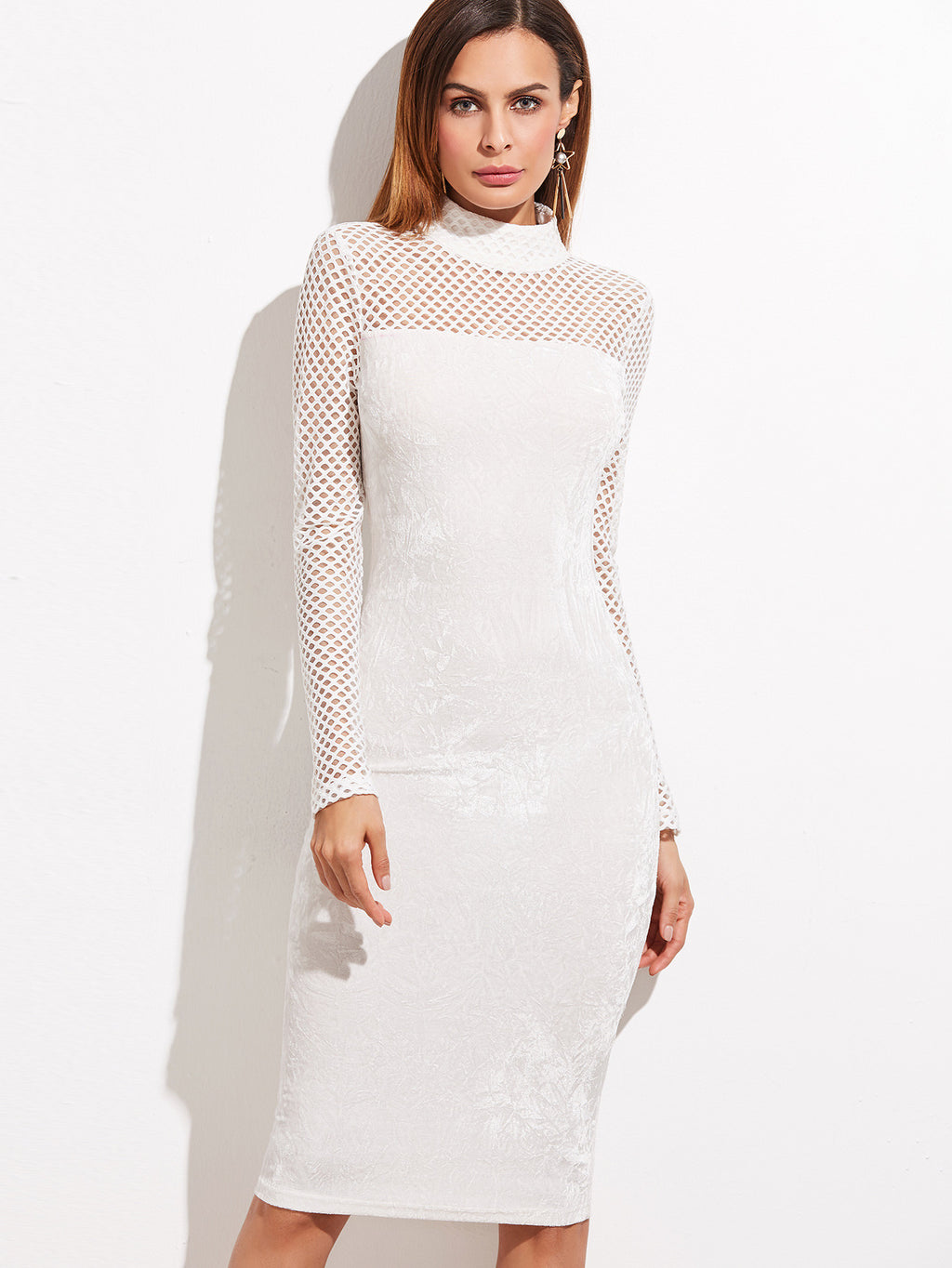 Belle White Velvet Dress
