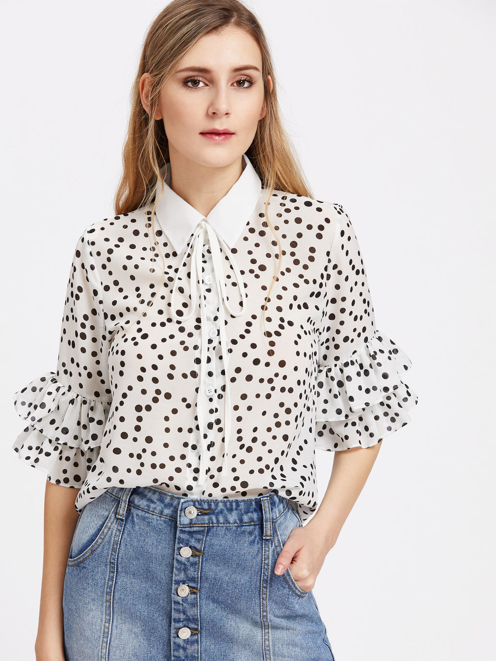 Sparrow Polka Dot Collared Blouse