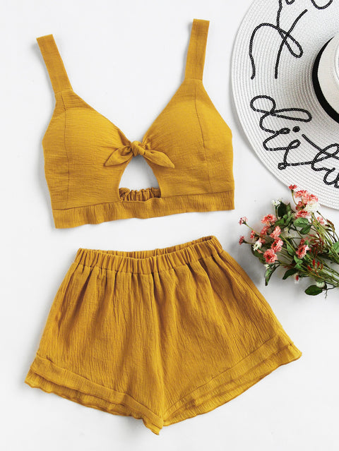 Jo Yellow Crop and Short Set