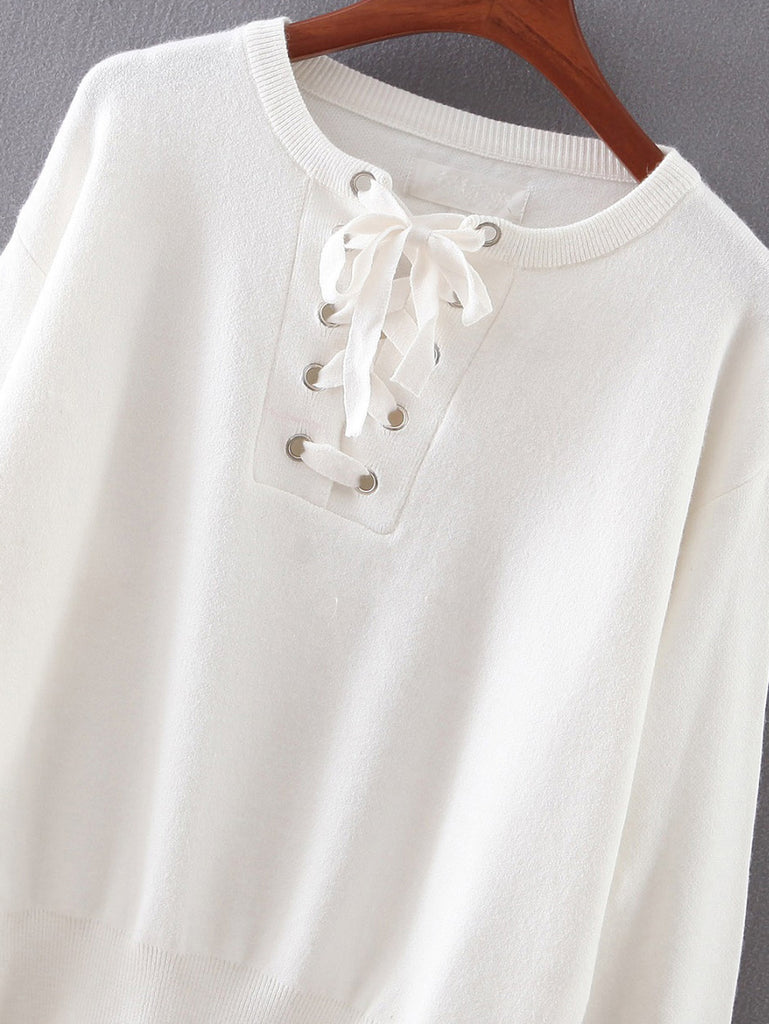 Zoe White Lace Up Knit