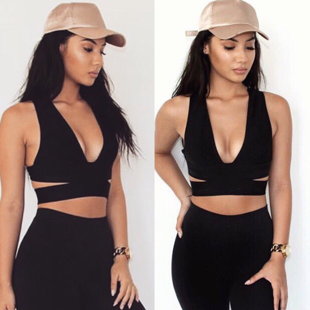 Hub black bandage crop top