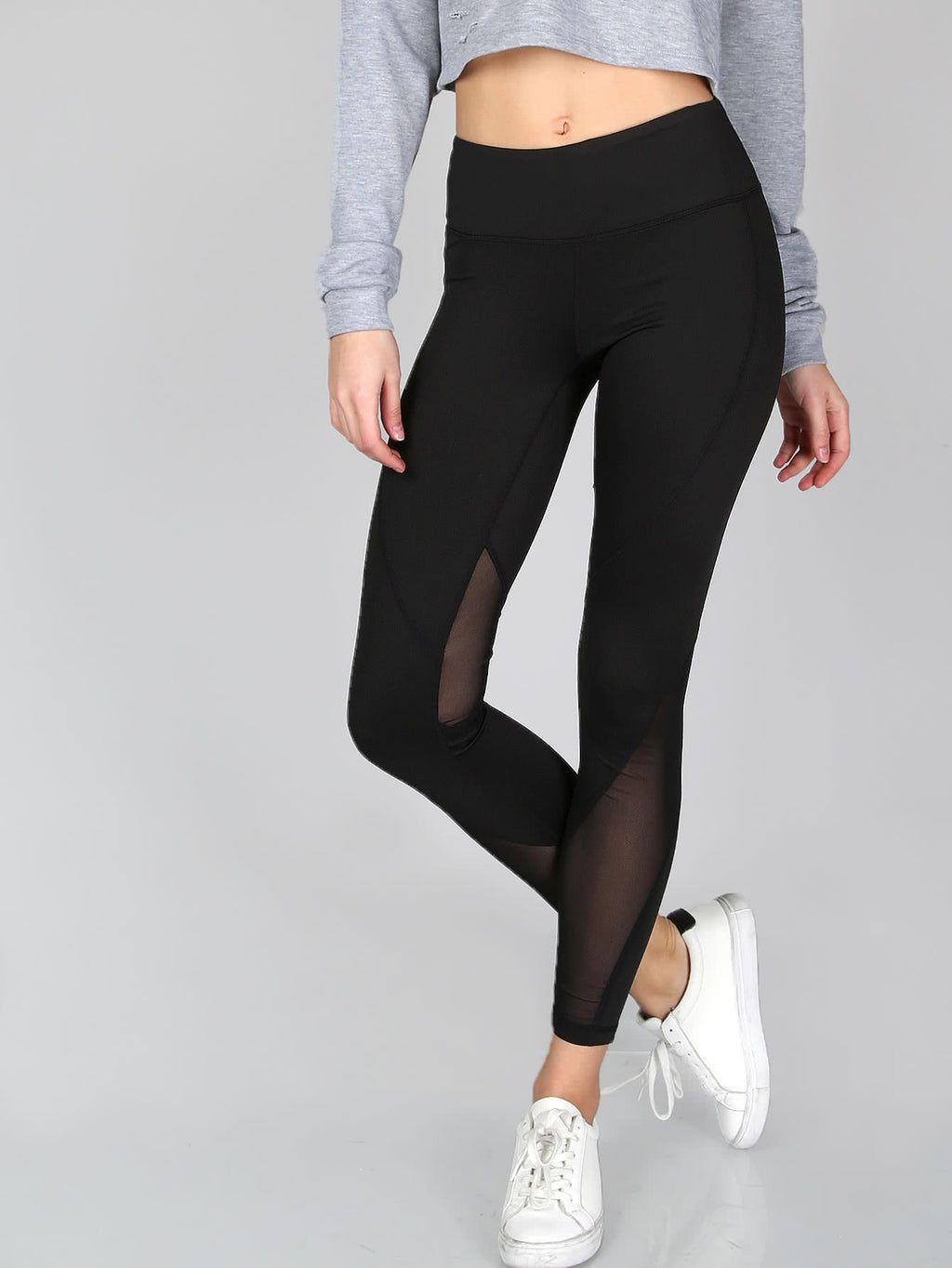 Brodie black leggings with sheer panel