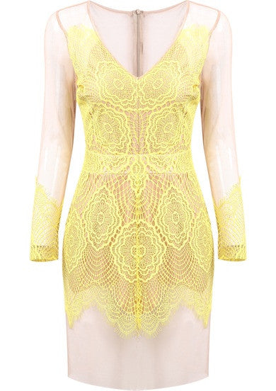 For The Love Lemon Lace Dress