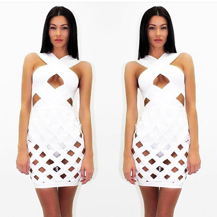 Haymen White Bandage Dress