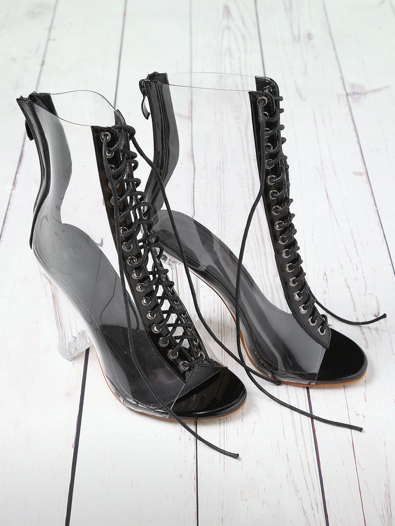 Eliza Lace Up Black Boots