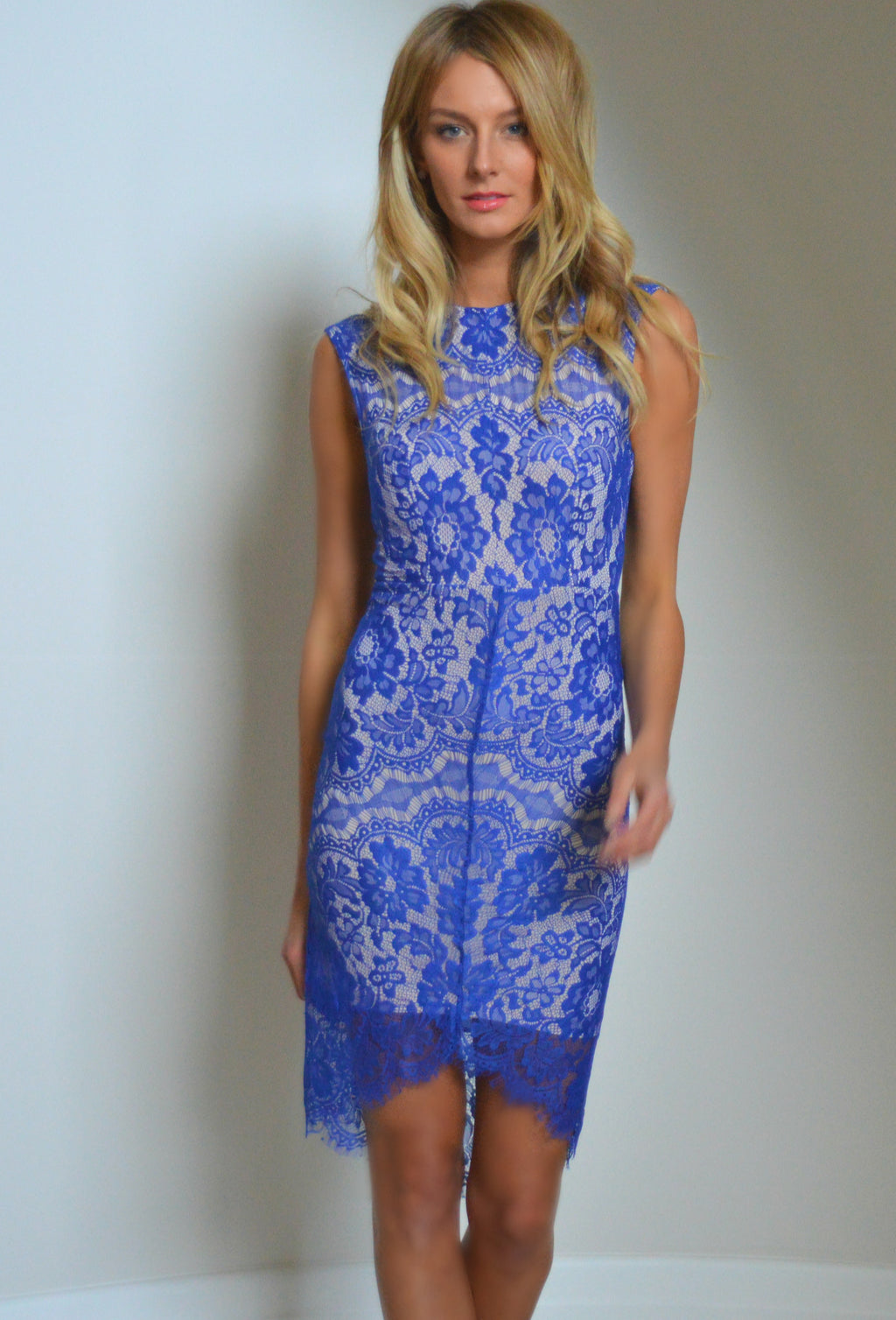Waiting For Tonight Blue Lace Dress