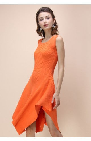 Madison orange asymmetric dress