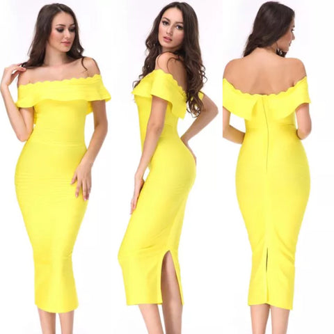 Mayda yellow off the shoulder dress