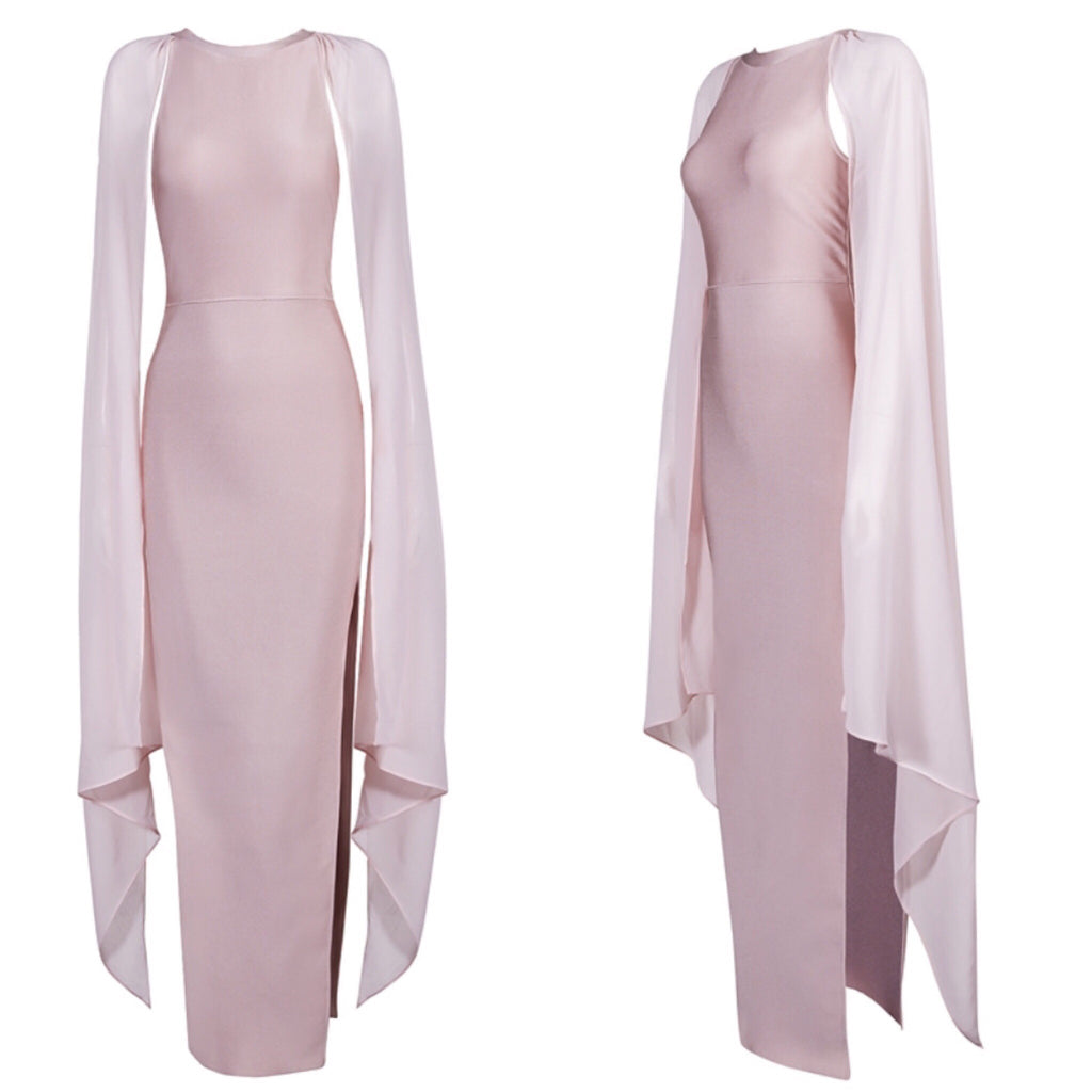 Perry blush winged sleeve dress