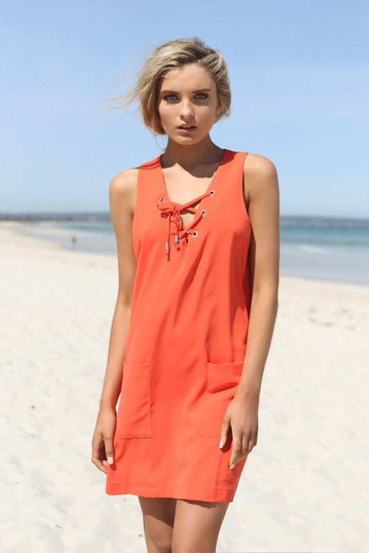 Kaya shift tangerine orange dress