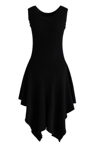 Madison black asymmetric dress