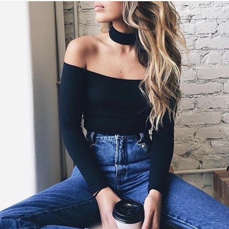 Leigh black long sleeve crop top