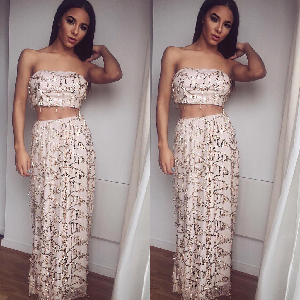 Pia sequin top and skirt set