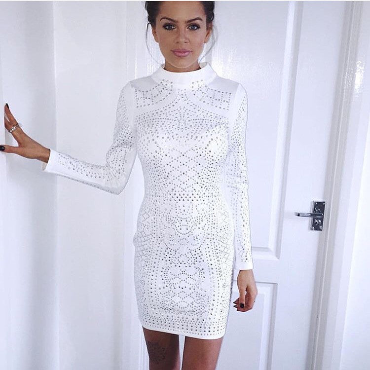 Reem white long sleeve dress