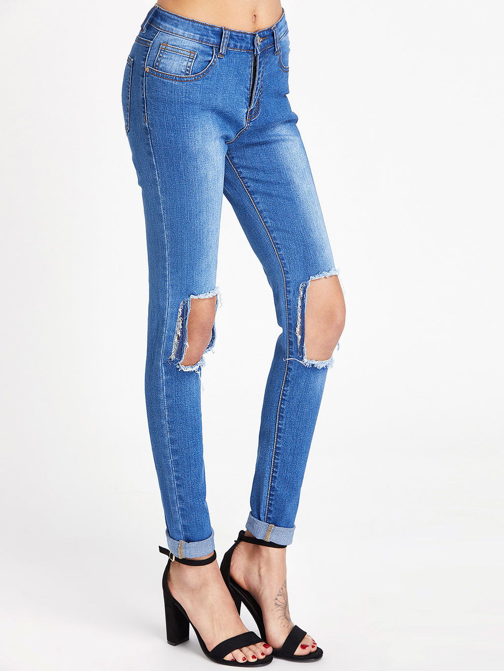 Want her blue denim ripped knee jeans