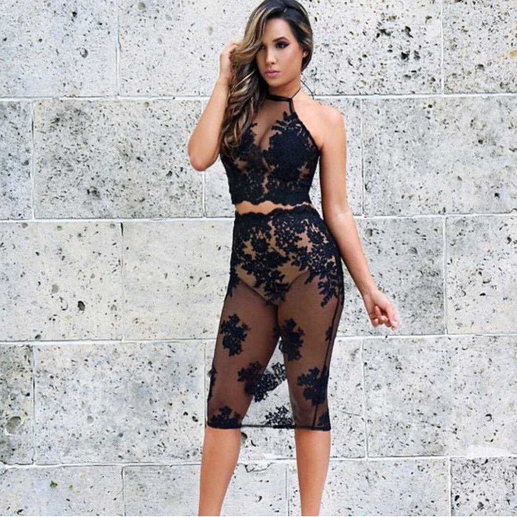 Posie black lace top and skirt set