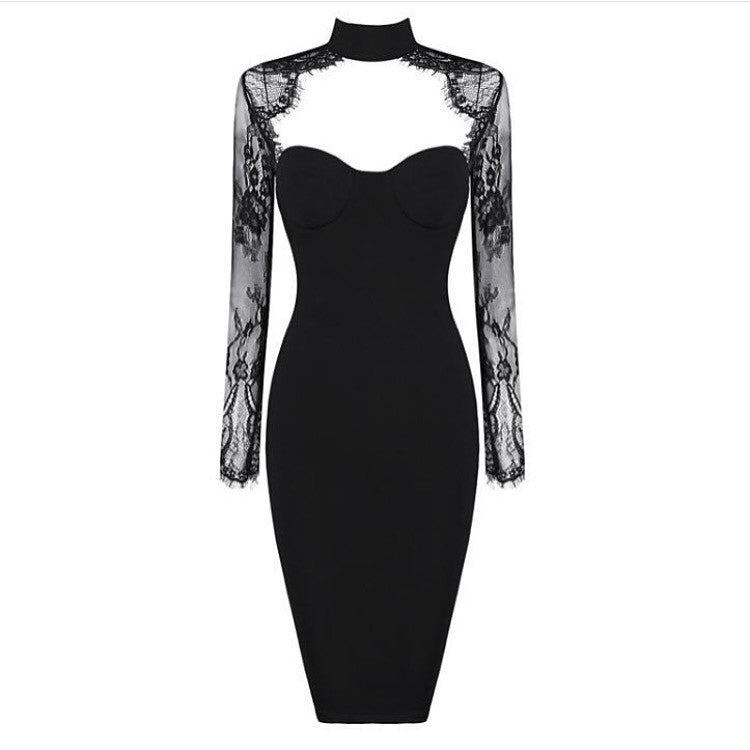 Modernist black lace dress