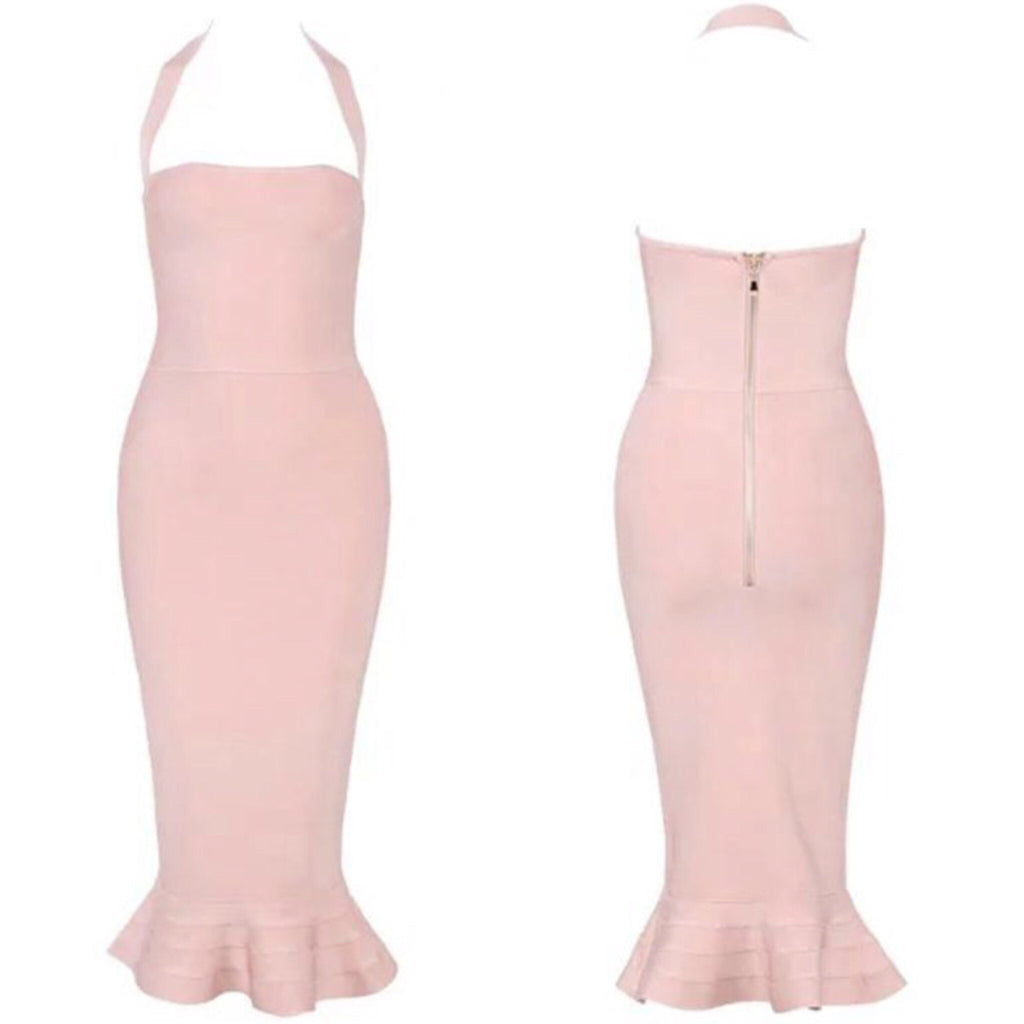 Alana blush halter neck dress