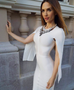 Cazel White Flared Sleeve Dress