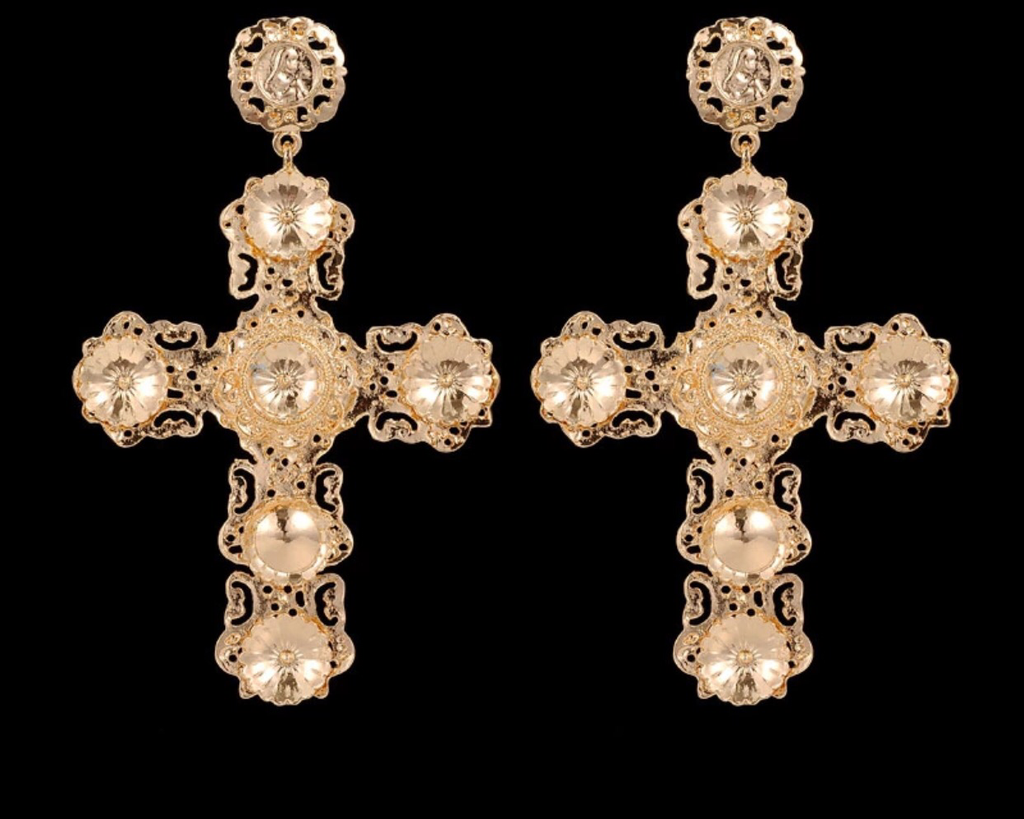 Willow gold cross earrings