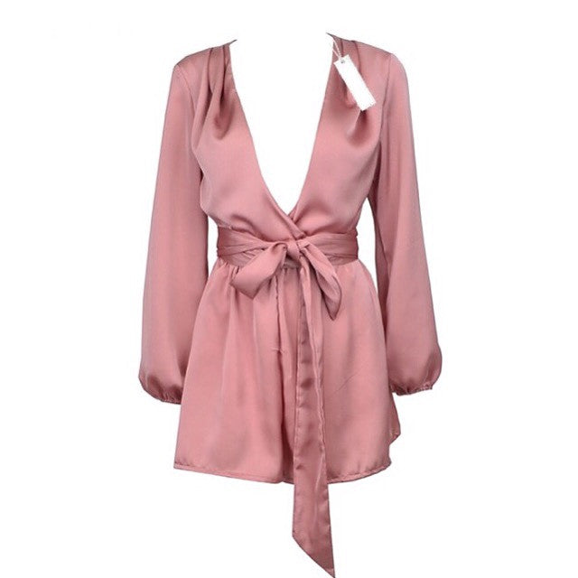 Queens blush long sleeve playsuit