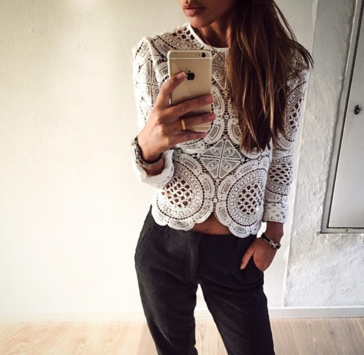 Bree crochet Long Sleeve White Top