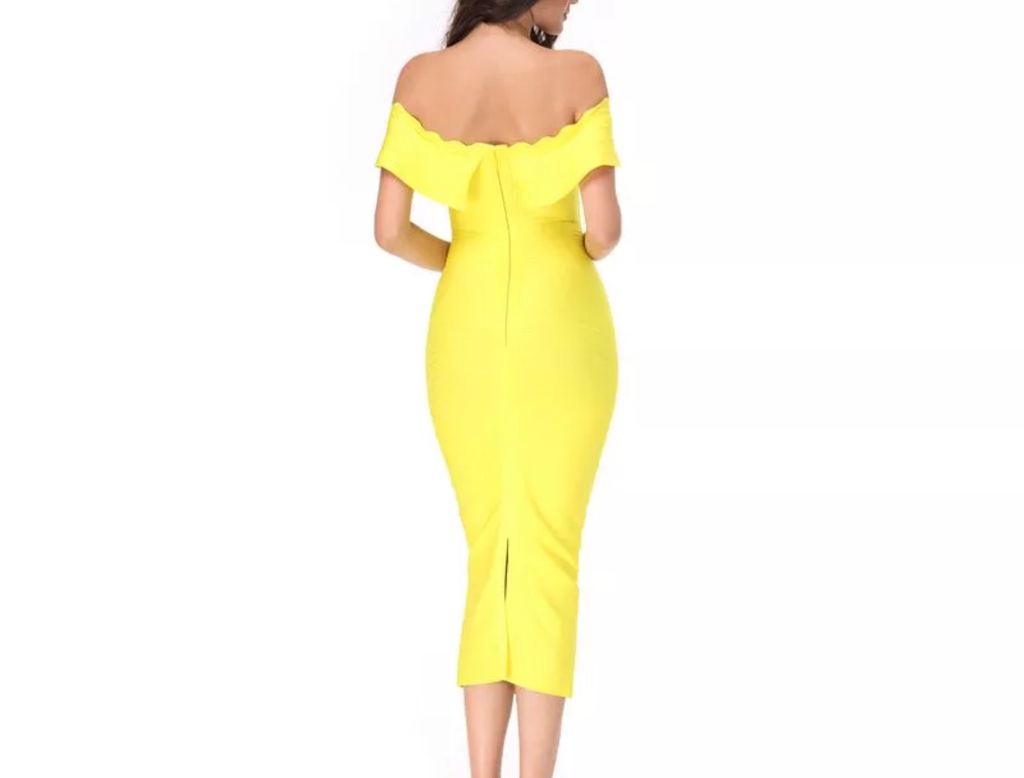 Mayda yellow off the shoulder dress – Love Storey Boutique
