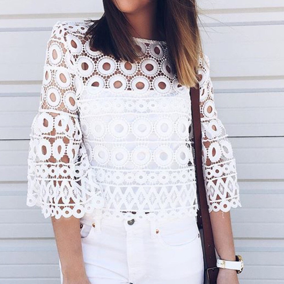 Bianca white crochet top