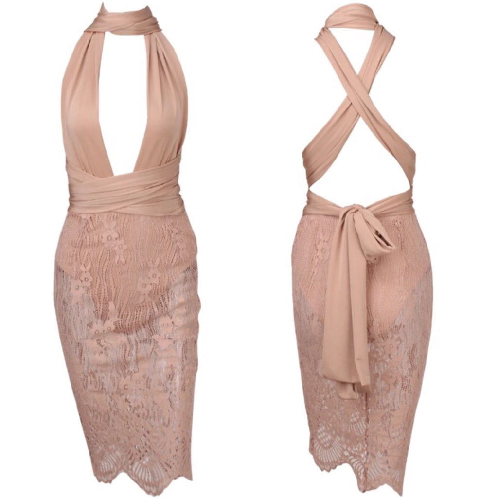 Shelley beige lace wrap dress