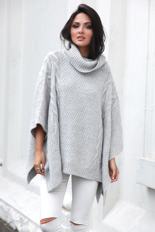 Bells out grey poncho cape