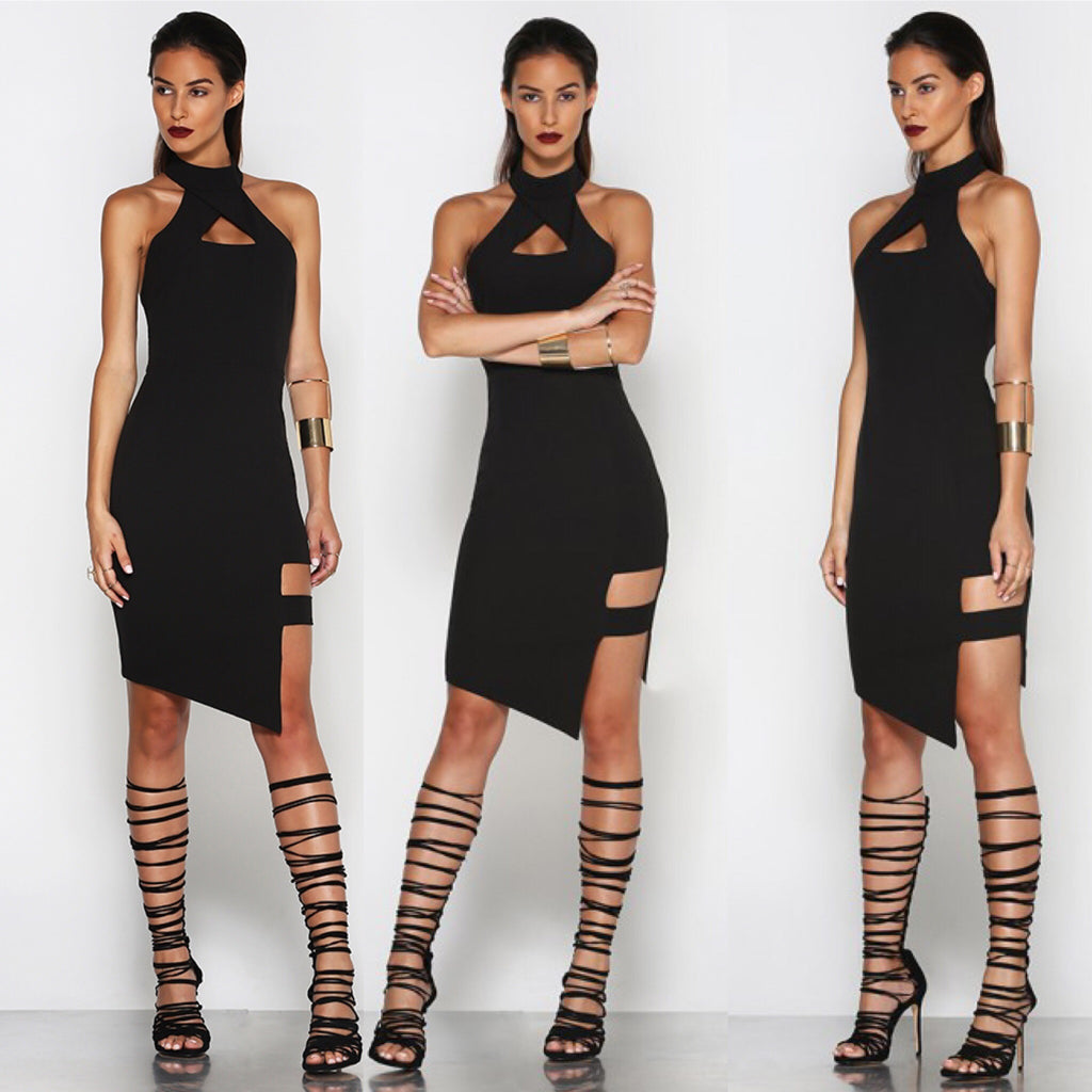 Bandwidth black midi dress