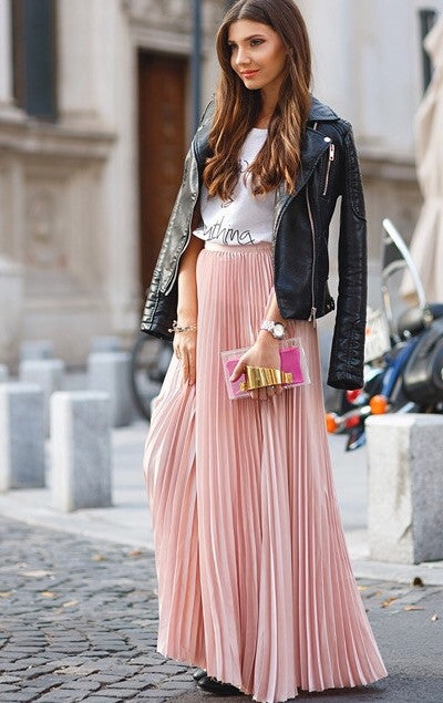 Brooklyn Light Pink Pleated Maxi Skirt Love Storey Boutique