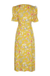Jolene yellow floral wrap dress